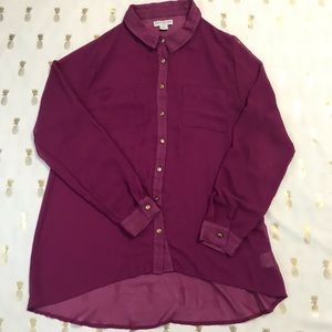 Cotton On Purple Sheer Button Down Long Sleeve